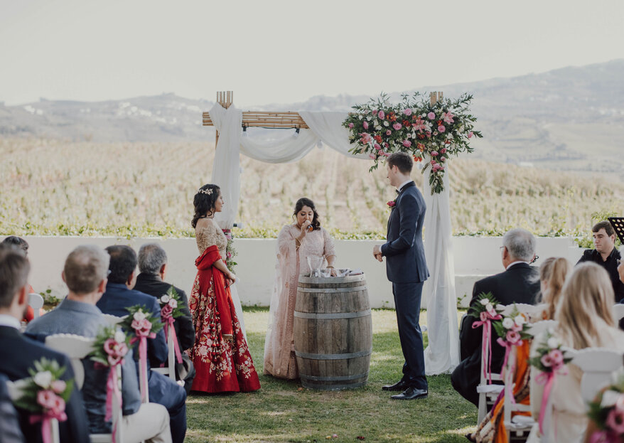 Rustic glamour: Mehak and Michael's majestical vineyard wedding in Portugal